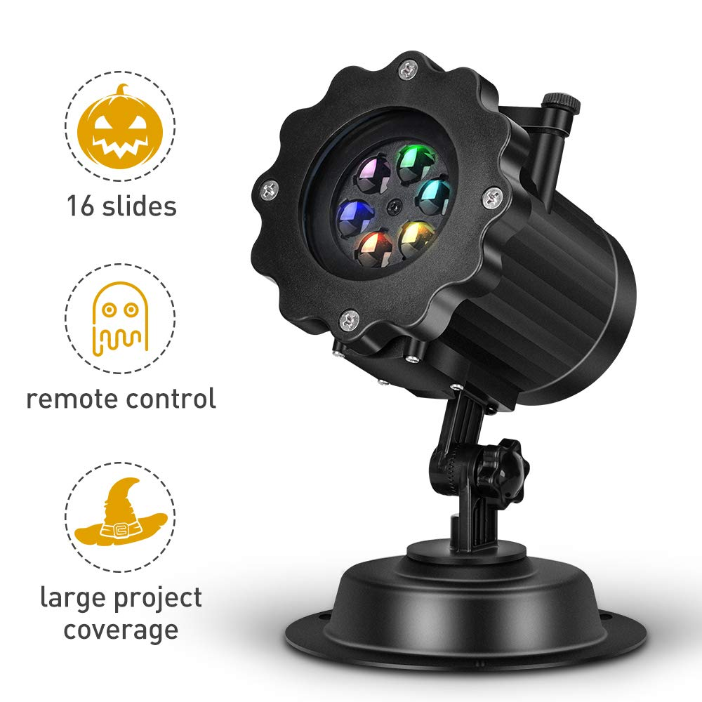 Halloween Projector - LED Projector Lights Kit w/ Remote & Timer for Halloween Christmas, 16 Slides&Adjustable Motion Speed, IP44 Waterproof Indoor Outdoor Use, for Birthday Wedding Home Decoration
