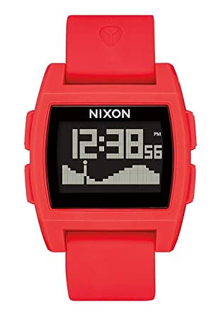 Nixon Base Tide Red Mens Surf Watch with Silicone Band (38mm. Black Face/