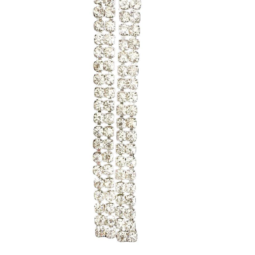 Fashion SS16 Clear Rhinestone 1 Yard 2-Row Close Chain Trims Silver for Weeding DIY Decoration Awakingdemi Crystal Rhinestone Close Chain