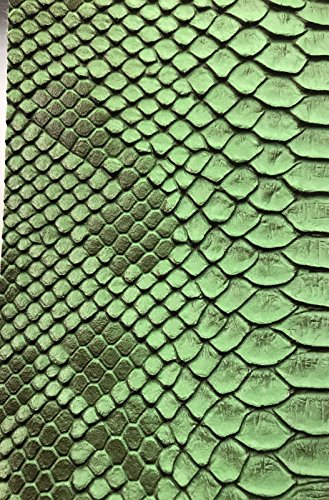 (Vinyl Fabric - Green Faux Viper Snake Skin Vinyl - Faux Leather - 3D Scales Upholstery - sold By The Yard.)