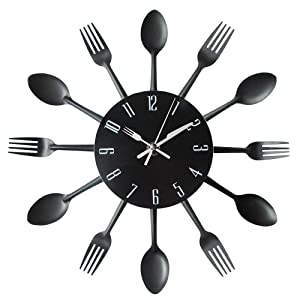 Timelike Kitchen Wall Clock, 3D Removable Modern Creative Cutlery Kitchen Spoon Fork Wall Clock Mirror Wall Decal Wall Sticker Room Home Decoration (Black)