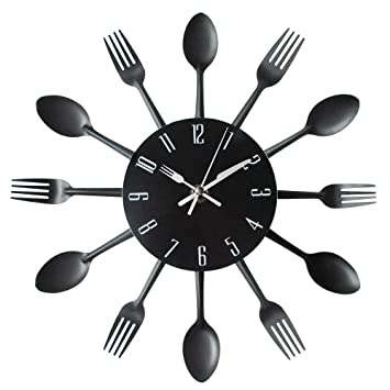 Kitchen Wall Clock, Timelike 3D Removable Modern Creative Cutlery Kitchen  Spoon Fork Wall Clock Mirror