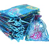 SumDirect 100Pcs 5x7 Inches Drawstring Organza Bags Jewelry Favor Pouches with Coralline Print for Gift,Wedding,Party,Festival (Blue)