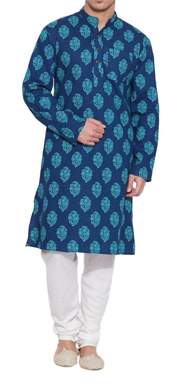 ShalinIndia Men Cotton Long Kurta Nehru Collar 3 Pockets-Blue-Size 38 inch