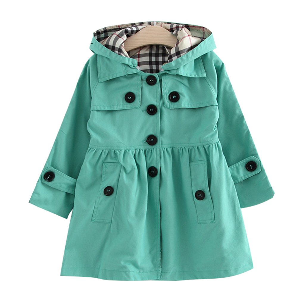 FREE FISHER Little Girls Wind Coat with Detachable Hood Green 120/4-5 Yrs