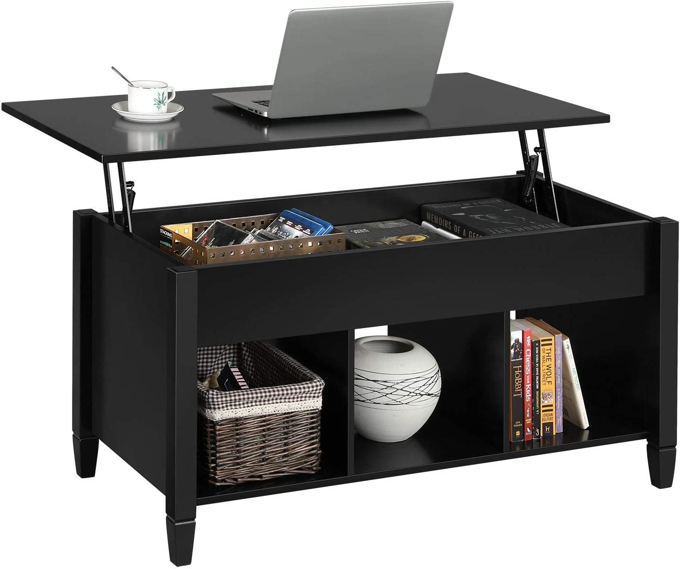 YAHEETECH Minimalist Wooden Lift Top Coffee Table w/Hidden Storage Compartment & Lower 3 Cube Open Shelves for Living Room/Reception Room/Office, Black