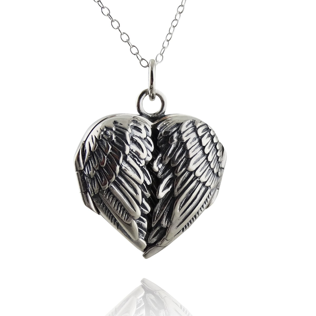 FashionJunkie4Life Sterling Silver Angel Wings Heart Locket Necklace, 18'' Cable Chain