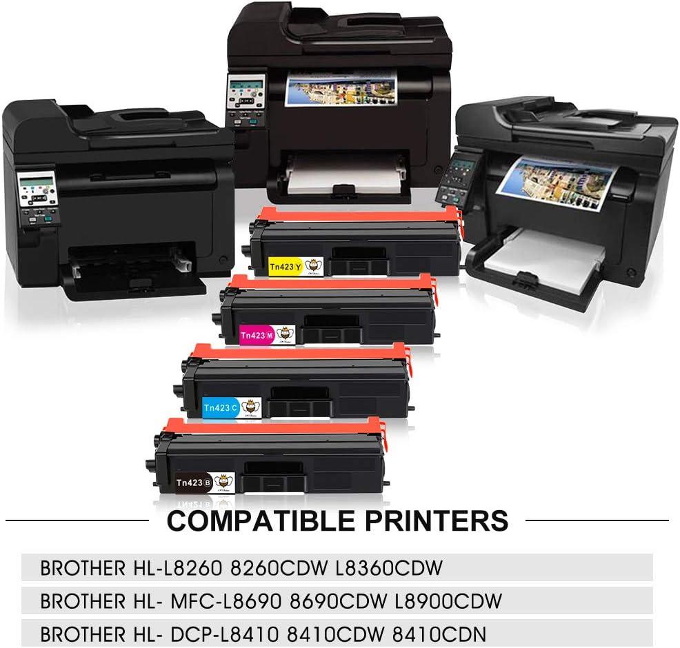 CMYBabee TN421 TN423 Compatible Toner Cartridge for Brother TN-423 TN-421BK TN-423C TN-423M TN-423Y Compatible with Brother HL-L8260 8260CDW L8360CDW MFC-L8690 8690CDW L8900CDW DCP-L8410-4PACK
