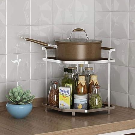 DUDDP Organizador Cocina Rack de Almacenamiento en Rack de 2 Plantas de Almacenamiento del hogar, Cocina Baño Esquina del Estante, Ahorro de Espacio de la Cocina condimento Rack (Color : Silver): Amazon.es:
