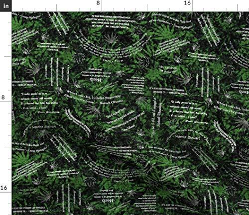 Marijuana Fabric - Weed Pot Leaf Herb Ganga Black Green 420 Cannabis Quotes Ganja Grass Print on Fabric by The Yard - Sport Lycra for Swimwear Performance Leggings Apparel ()