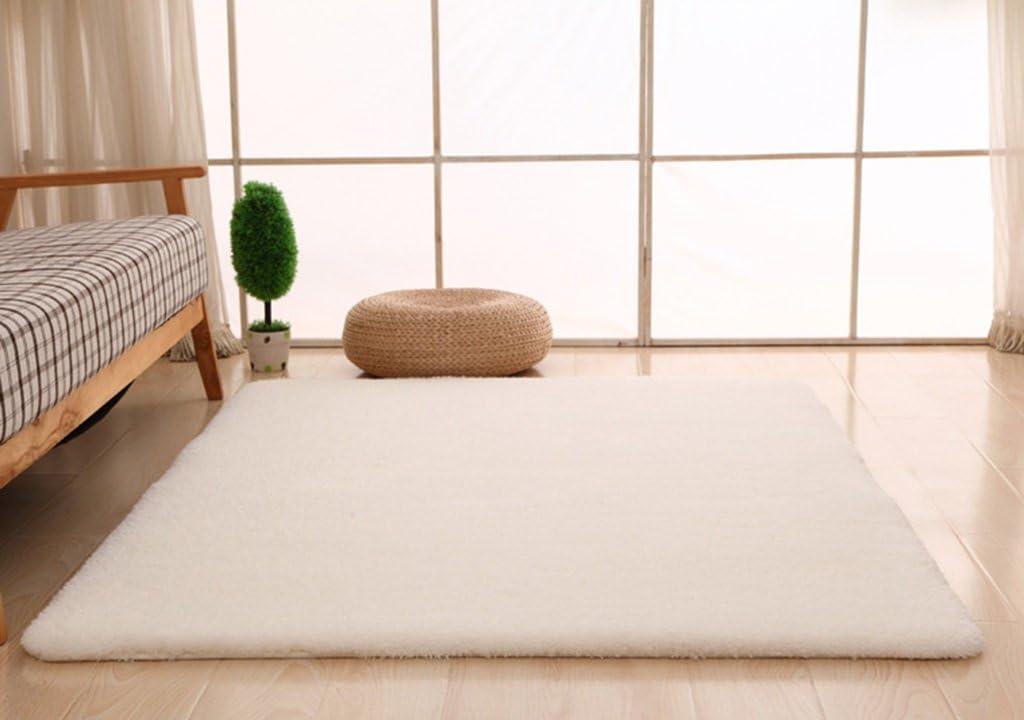 Couleur : Blanc Laiteux, Taille : 120X200cm 4 cm SESO UK Moderne et Simple Pur Couleur Tapis pour Chambre /à Cheveux Chambre /Épais /Épaisseur Anti-d/érapant Tapis Continental /Épaisseur