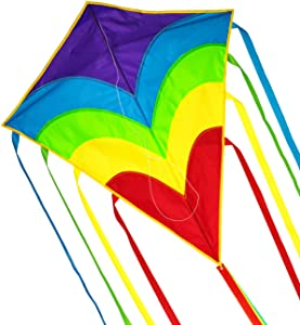 ZHUOYUE Rainbow Diamond Kite Single Line Beginner Kite for Kids and Adults, Easy to Fly Kites Nylon with Long Tail and Flying Tool