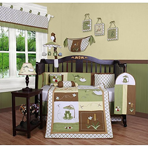 Frog Nursery Bedding - TL 13 Piece Baby Boys Brown Green Yellow Leap Frog Crib Bedding Set, Newborn Swamp Nursery Bed Set, Animal Themed Infant Child Patchwork Diamond Border Bugs Insects Quilt Blanket, Cotton Polyester