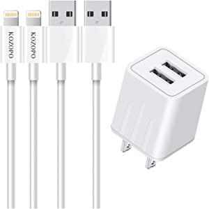 KOZOPO iPhone Charger, Lightning Cable 6FT(2 Pack) Fast Charging Data Sync Transfer Cord with 2 Port USB Plug Wall Charger Travel Adapter Compatible with iPhone 11 Pro Max XS XR X 8 7 Plus 6S for iPad