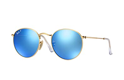 d2bea78f3c7e Image Unavailable. Image not available for. Color  Ray Ban RB3447 112 4L 50  Matte Gold Blue Mirror Polarized Round ...