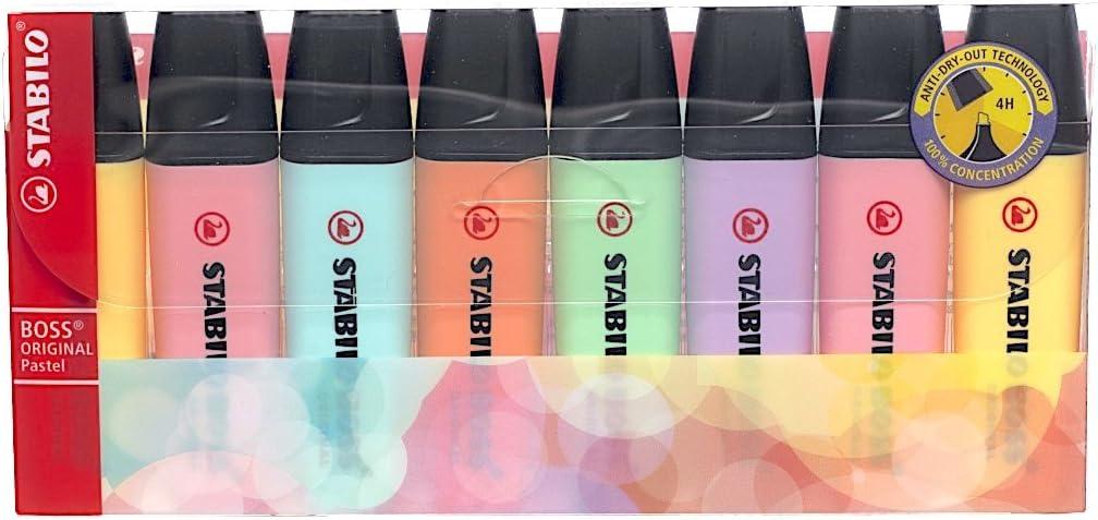 Stabilo Boss Original – Rotulador fluorescente varios colores en tonos pastel Wallet of 8: Amazon.es: Oficina y papelería