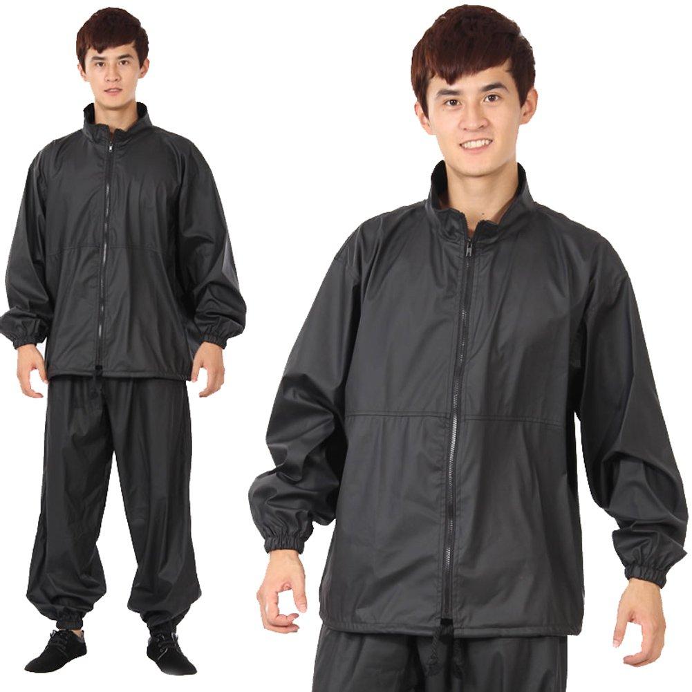Men 's Professional weight-loss Suitブラックサウナスーツセットツーピース XXL: chest:51.18\  B00KNI3TD4