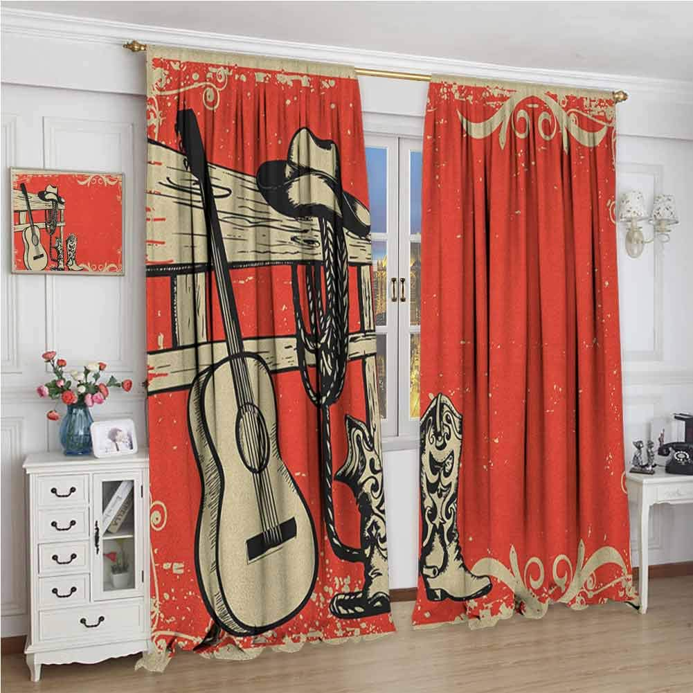 Western Room Darkened Curtain Image of Wild West Elements with Country Music Guitar and Cowboy Boots Retro Art Insulated Room Bedroom Darkened Curtains W108 x L72 Inch Beige Orange by GUUVOR