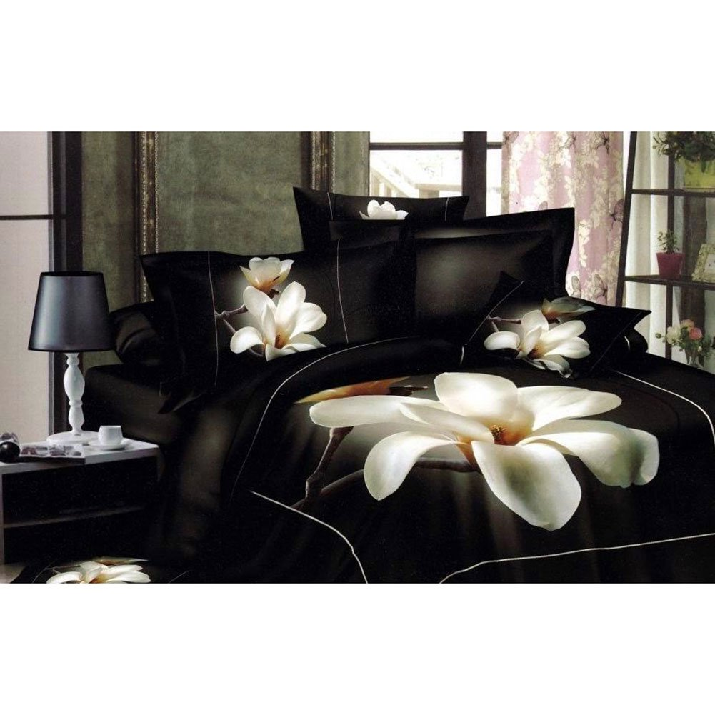 Pumaria Flower And Black Color Reactive Printed 3d Bedding Set Linen Cotton. (Queen) CandyAngle