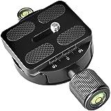 UTEBIT DM-55 アルカスイス適応 互換 ボール雲台 55mm 1/4 ネジ クイックリリース クランプ プレート 円形 定規あり 正確撮影 1/4 転 3 / 8 ネジ 変換 アダプタ 水準器 内蔵 雲台