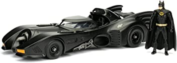 "Jada Toys Dc Comic 1989 Batmobile with 2.75"" Batman Metals Diecast Vehicle with Figure (2 Piece), Black, 1: 24 Scale"