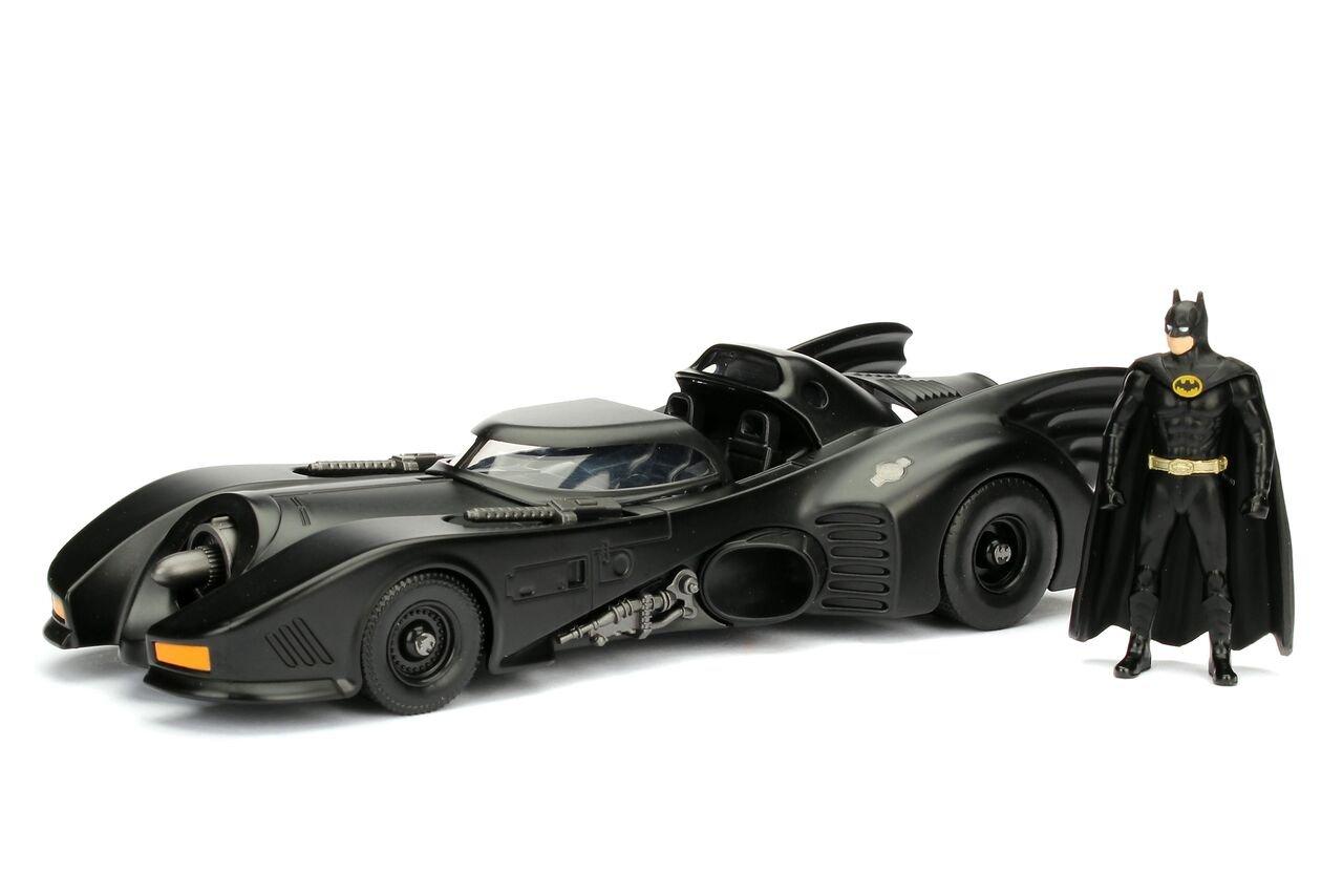 Jada Toys Dc Comic 1989 Batmobile with 2.75'' Batman Metals Diecast Vehicle with Figure (2 Piece), Black, 1: 24 Scale