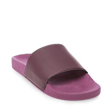 9e84f2c4844 Steve Madden Men's Mastic Vegan Leather Strap Pool Slide Sandal Shoes