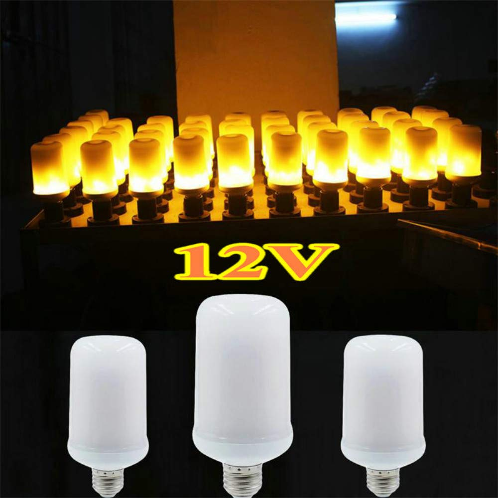 LED 12V Flame lamp E27 E26 Light Bulb Flame Effect Fire Lamps Flickering Emulation Creative Lights for Christmas Holiday Decor,E27 7W 12V