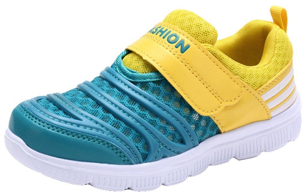 VECJUNIA Boys Mesh Athletic Running Sneakers Shoes (Toddler/Little Kid/Big Kid) (Yellow, 10 M US Toddler)