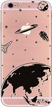 Freessom Coque IPhone 6/6s Silicone Transparente avec Motif Univers Espace Noir Dessin Planetes Souple Soft Originale Antichoc Ultra Mince Fine Leger ...
