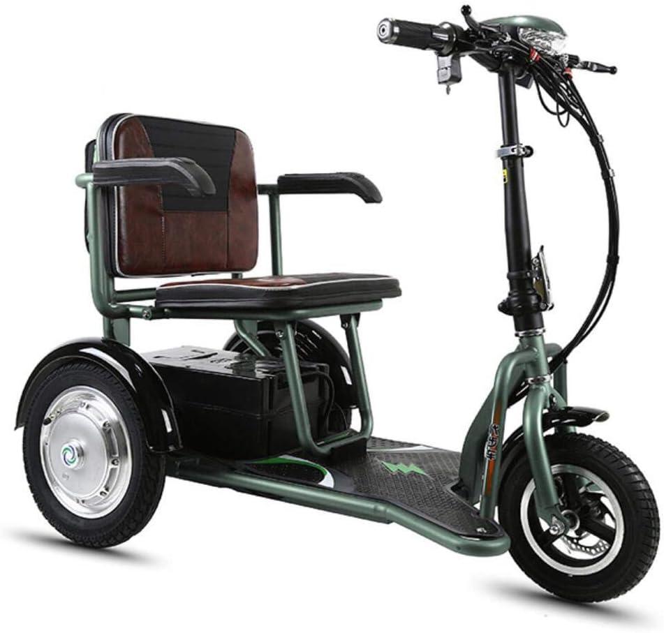 CYGGL Mini Triciclo Eléctrico Plegable para Ancianos Y Discapacitados, Motor 350W - Peso Corporal 26KG - Carga 120KG - Kilometraje Máximo 35Km- Calle Legal