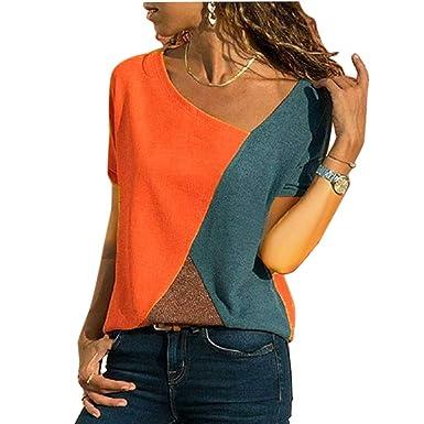 a73579e3746f6f WinCret Women Short Sleeve Triple Color Block T-Shirt Casual Asymmetrical  Sexy V-Neck Blouse Tops: Amazon.co.uk: Clothing