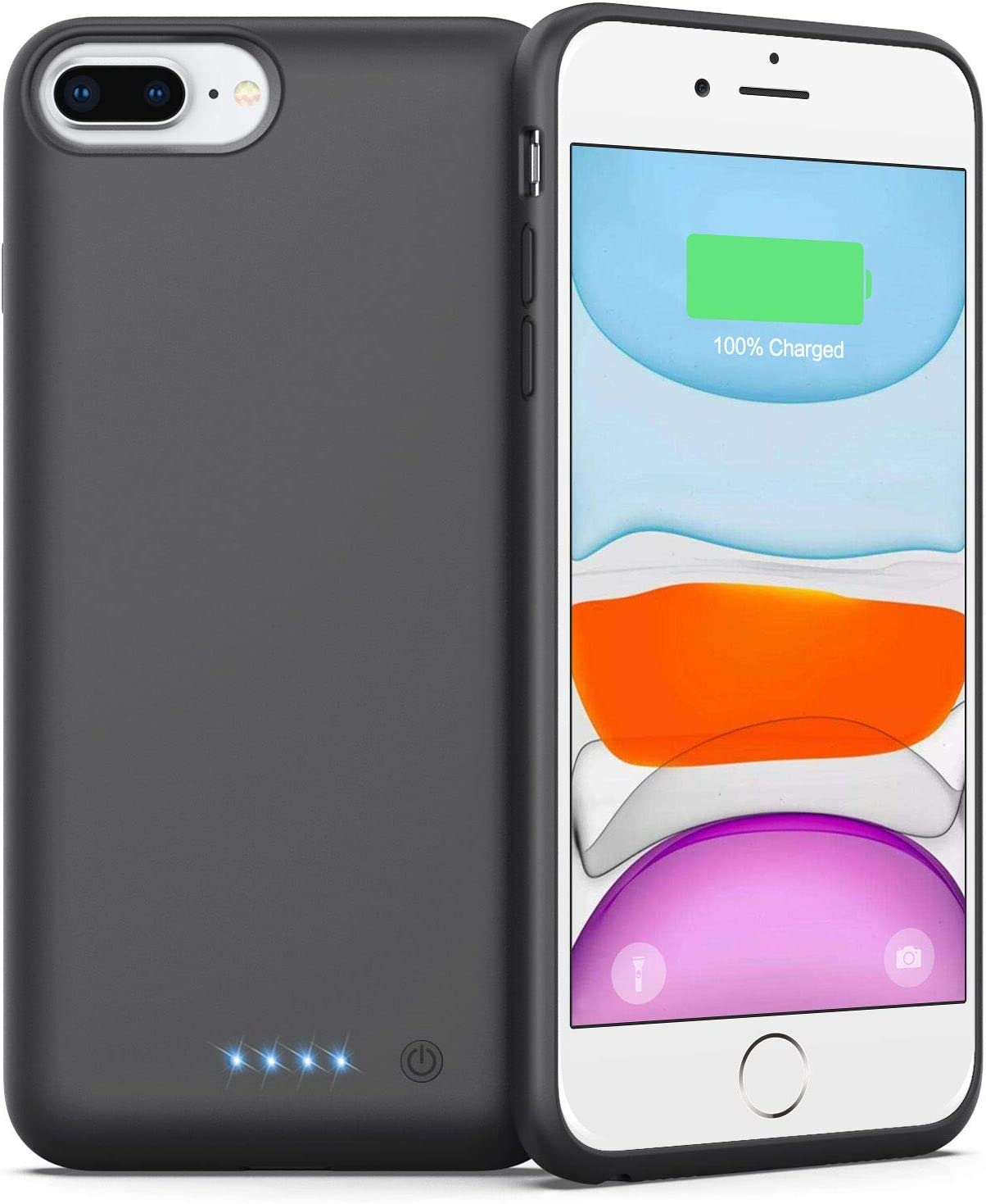 Battery Case for iPhone 6 Plus/ 7 Plus/ 8 Plus, (Newest 8500mAh) External Battery Pack Protective Portable Phone Charger for iPhone 7 Plus/ 8 Plus Rechargeable Battery Case - 5.5 inch Black