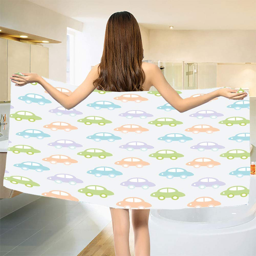 smallbeefly Kids Bath Towel Cute Cars Pastel Colored Automobiles Boys City Joyful Game Toys Childhood Inspired Bathroom Towels Multicolor Size: W 31.5'' x L 81''