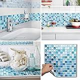BEAUSTILE Decorative Tile Stickers Peel Stick Backsplash Fire Retardant Tile Sheet (10pcs) (N.Blue)