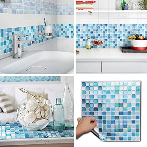 BEAUSTILE Decorative Tile Stickers Peel Stick Backsplash Fire Retardant Tile Sheet (10pcs) (N.Blue)