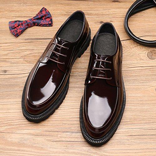 Herren Lederschuhe Herren Lederschuhe britischen Stil Business Formelle Kleidung Hochzeit Bräutigam Herrenschuhe ( Farbe : Weinrot , größe : EU43/UK8 ) Weinrot