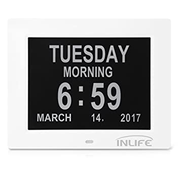 InLife Digitaler Kalender Tag Uhr, Alzheimer Digitaler Wecker mit 8 ...