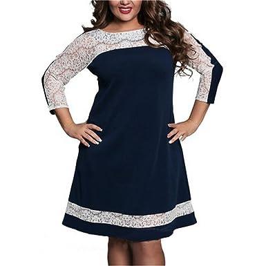 VENI MASEE Damen Sexy Kleid Mode Plus Groß Der Kleid Elegant(L-6XL ...