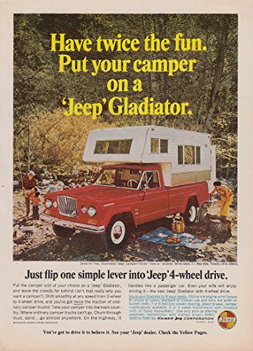 Twice the fun - Your camper on a Jeep Gladiator ad 1966 Sunset