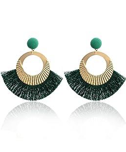 Paolian Femmes Cercle Bordées Boucles d'oreilles Boho Bijoux de mode (Vert)