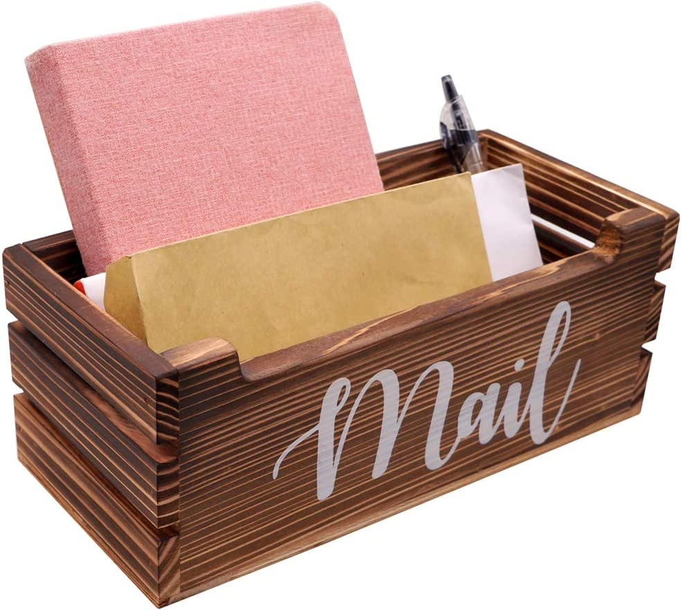Rustic Wood Tabletop Mail Holder Box, Desktop Mail Organizer, Mail Sorter, Mail Holder, Letter Holder, Mail Storage Box