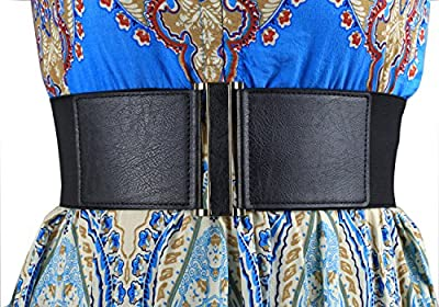 """Modeway 3"""" Wide Stretch Elastic Cinch High Waist Belts For women With Gold Buckle"""