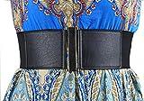 Modeway Womens Belts 3''Wide High Waist Leather Elastic Belts for Woman Dress Decoration (XXL,Black)B1-4