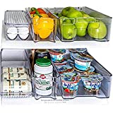Refrigerator Organizer set of 6 Storage Bins, Including Drink Holder and Egg Holding Tray, by Kitchen Shaq