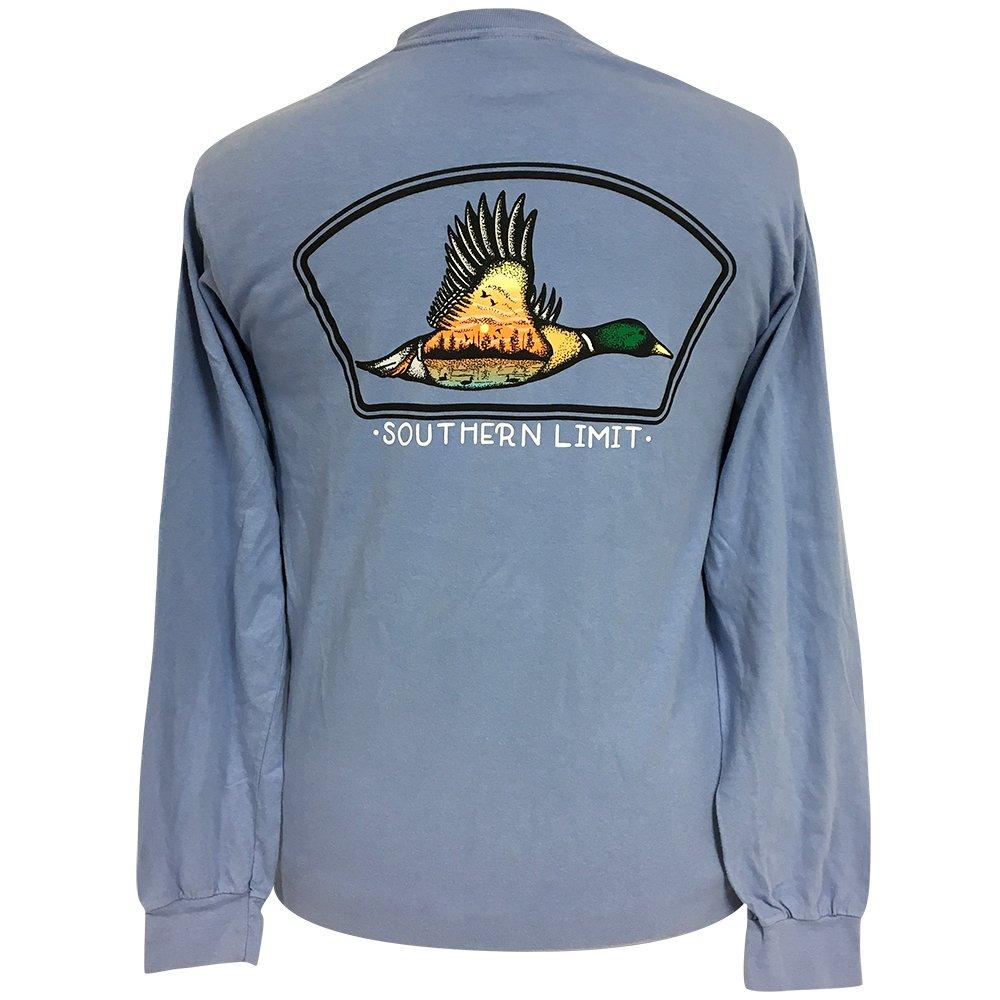 Southern Limit Mallard Tat Comfort Color Washed Denim Long Sleeve Tee Large