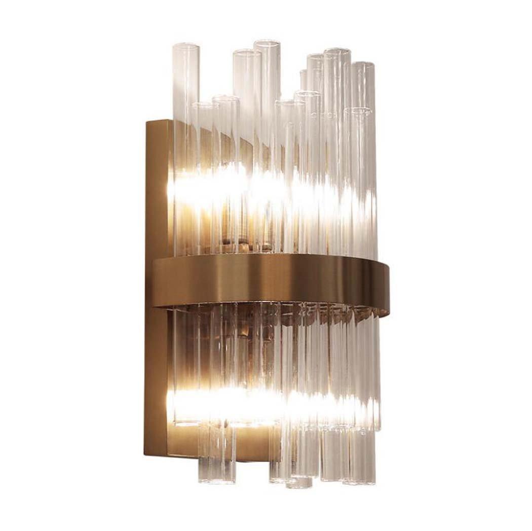 LEDウォールランプ、ポストモダンクリスタルガラスロッドウォールランプ、創造的な人格ステンレス鋼デザイナーモデルルームテレビの壁の壁の照明ベッドルームのベッドサイドランプ B07DM2B5M8 24657