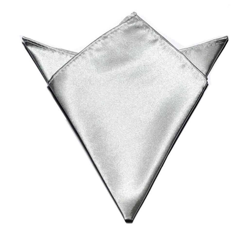Solid Color Pocket Squares Handkerchiefs Mens Dinner Napkin for Wedding Party Sliver