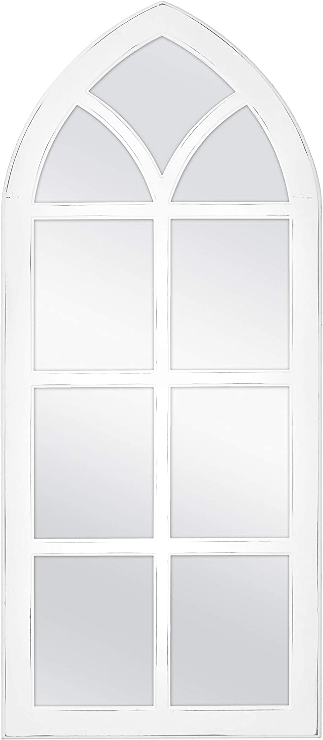 MCS Cathedral Windowpane Wall, White, 19×44 Inch Overall Size Mirror,