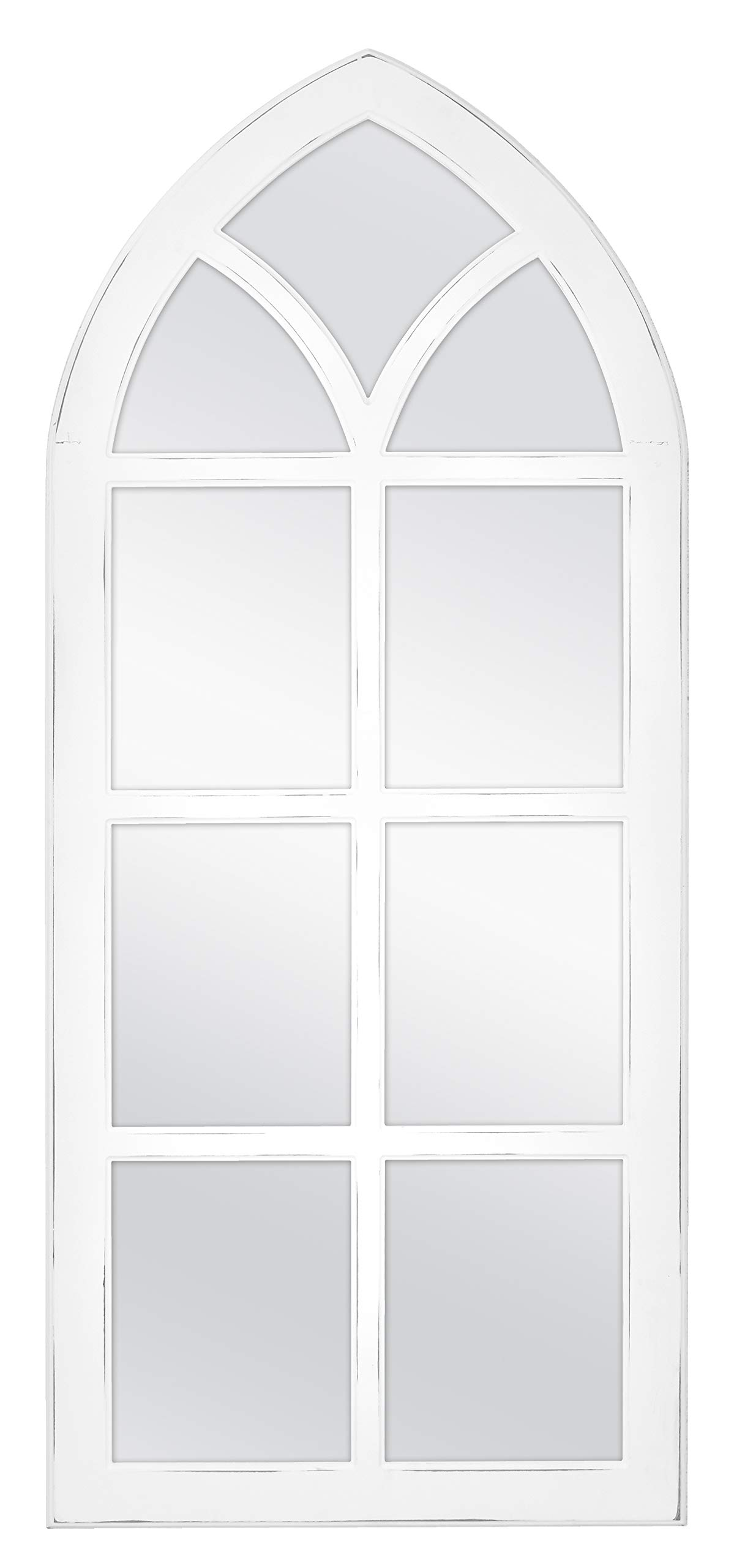 MCS Cathedral Windowpane Wall, White, 19x44 Inch Overall Size Mirror, by MCS